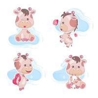 Cute giraffe kawaii cartoon vector characters set