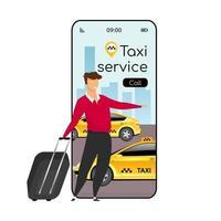 Taxi service cartoon smartphone vector app screen