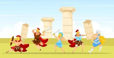 ilustración de vector plano de escena de batalla