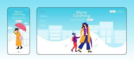 Warm clothing landing page flat color vector template