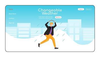 plantilla de vector de color plano de página de destino de clima cambiante