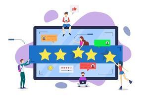 Online reviews semi flat RGB color vector illustration