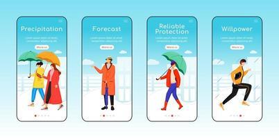 Rainy weather walking onboarding mobile app screen flat template vector