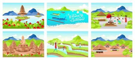 Indonesia flat vector illustrations set