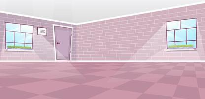 Empty dining room interior flat vector illustration