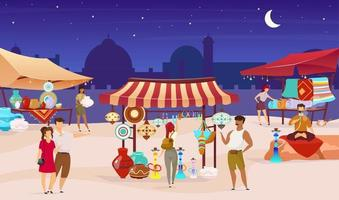 Tourists at night turkish bazaar flat color vector illustration