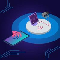 Security system isometric color vector illustration