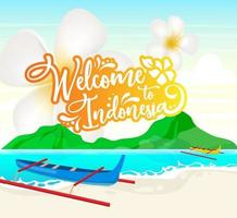 Welcome to Indonesia social media post mockup vector