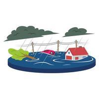 Flood cartoon vector illustration