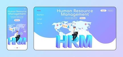 Human resource management adaptive landing page flat color template vector