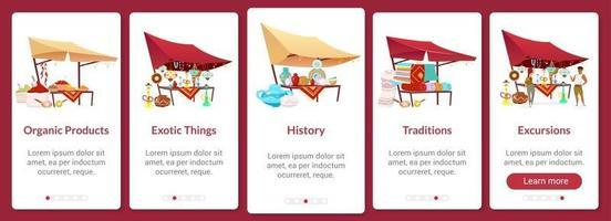 Bazaar onboarding mobile app screen flat vector template