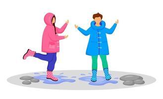 niños en impermeables color plano vector personaje sin rostro