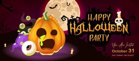 Happy halloween night party flat banner template vector