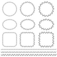 black hand drawn stitching vector frame and border patterns
