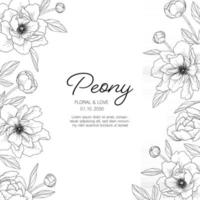 Hand drawn peony floral greeting card background. vector