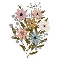 un ramo de diferentes flores silvestres con hojas. plantas con flores vector
