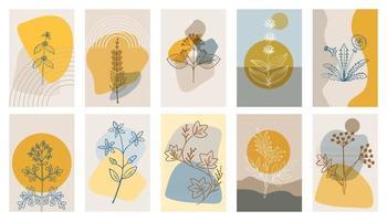 Hierbas amargas p1, cartel abstracto, conjunto vector