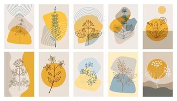 conjunto de carteles abstractos de hierbas amargas p1 vector