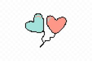 icono de estilo plano simple de hermosos dos globos pixelados vector
