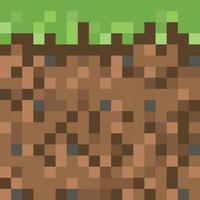 Pixel minecraft style land background. vector