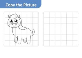 Copy the picture worksheet for kids, horse vector