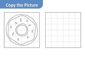 Copy the picture worksheet for kids, donut vector
