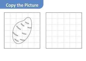 Copie la hoja de trabajo de la imagen para niños, vector de camote