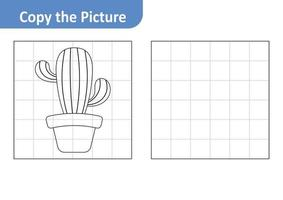 Copy the picture worksheet for kids, cactus vector