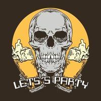 cráneo vintage, vamos de fiesta con cerveza de dos vasos vector