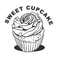 Sweet cupcake hand drawn monochrome vector