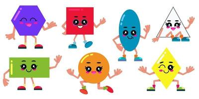Set of simple shapes. Cartoon comic geometric figures for education. vector
