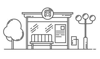 Bus stop vector line art illustration. Public transport station