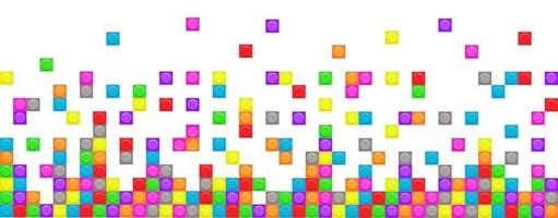 Mosaic brick blocks seamless border. Vector