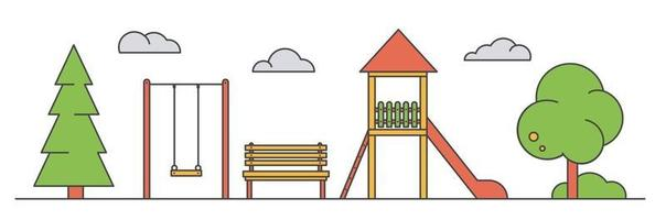 Playground for children. Landscape of park with swing, vector