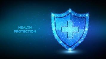 Escudo de protección de la salud médica con cruz. vector