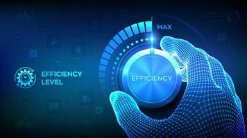 Efficiency levels knob button. Increasing Efficiency Level. vector