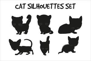 cat silhouettes set vector