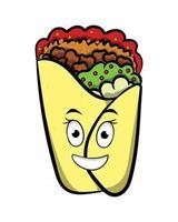 Burrito Queen Wearing Crown Fast Food Cartoon Character vector