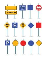 The road street traffic signs set, crossroad vector