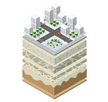 Geological and underground layers of soil under the isometric vector