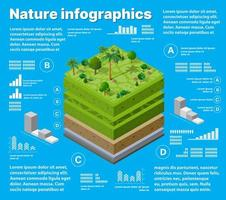 Infographics nature Geological and underground  isometric vector