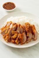 Fried pork topped on rice with spicy dipping sauce photo
