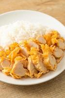 Fried chicken topped on rice with spicy dipping sauce photo
