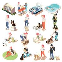 Ordinary Life Of Man And His Dog Isometric Icon Set vector