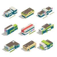 tienda centro comercial centro comercial edificios isométricos vector