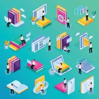 Online Education Isometric Icons Vector Illustration