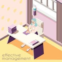 Effective Workspace Isometric Background Vector Illustration