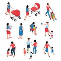 Mother And Baby Isometric Set Vector Illustration