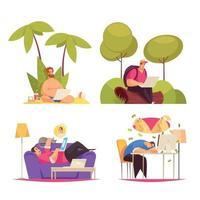 Ilustración de vector de concepto de dibujos animados de trabajo independiente