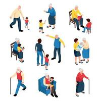 Grandmother And Grandfather With Grandchildren Vector Illustration